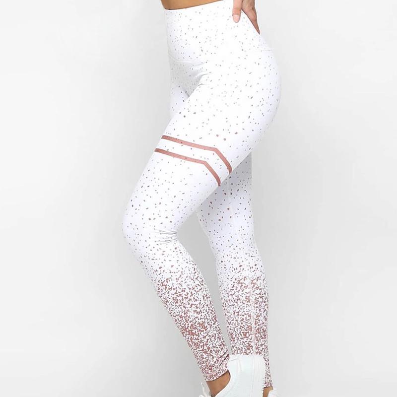 Damen Yoga Hose Leggings Fitness Jogging Trainings High Waist  Sporthose H//J