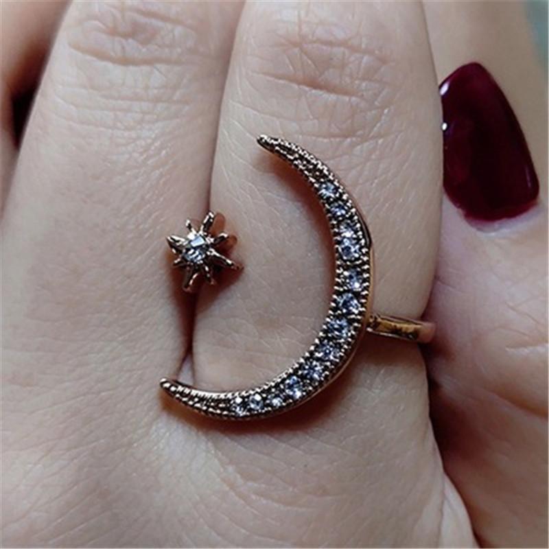 Details zu Damen Ring Schmuck Verstellbar Open Mond Sterne Ring für Damen und Mädchen