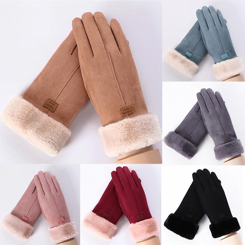 Damen Winter Lederhandschuhe Pelz Fahren Ski Radfahren Handschuhe