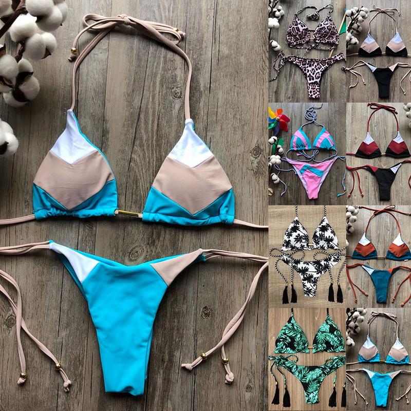 Damen Bikini Push-up Gepolsterter Bh Bademode Riemchen Strand Schwimmanzug L//P