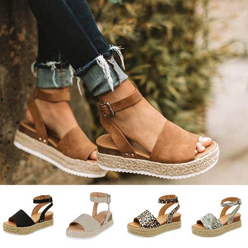 US Summer Platform Sandals Buckle Strap Casual Open Toe Fish Mouth Wedge Shoes