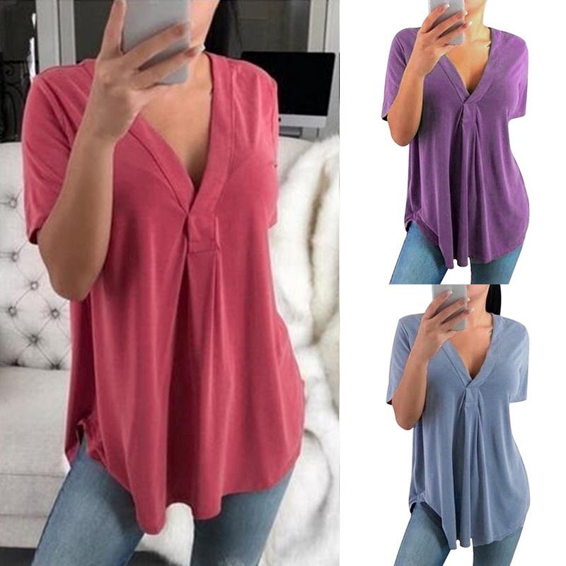 NE PEOPLE Womens Light-Weight Short Sleeve Basic V-Neck Casual Shirt Top NEWT211