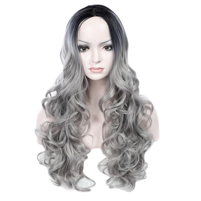 Fashion Grey Wig Cosplay Long Curly Wavy Hair Full Bangs