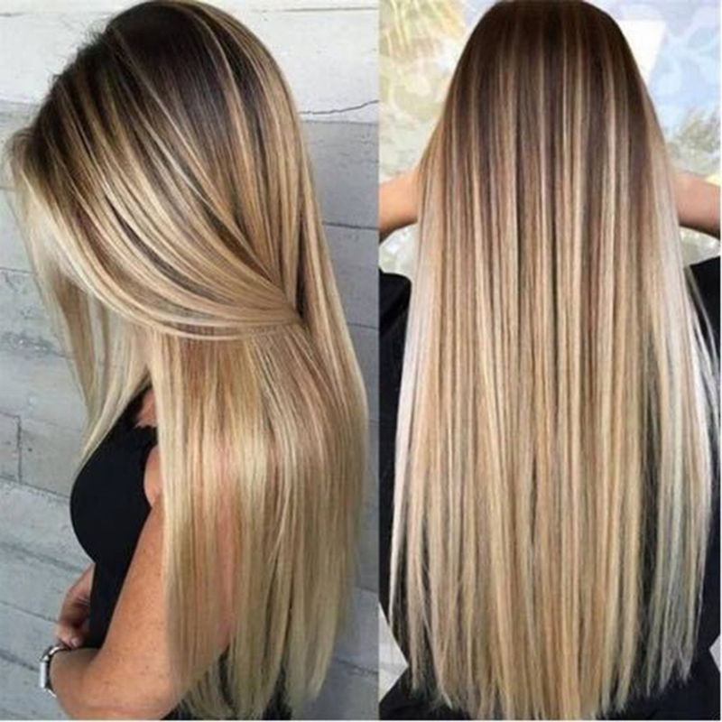 Details About Fashion Womens Long Ombre Blonde Straight Wig Synthetic Hair Party Wig Em