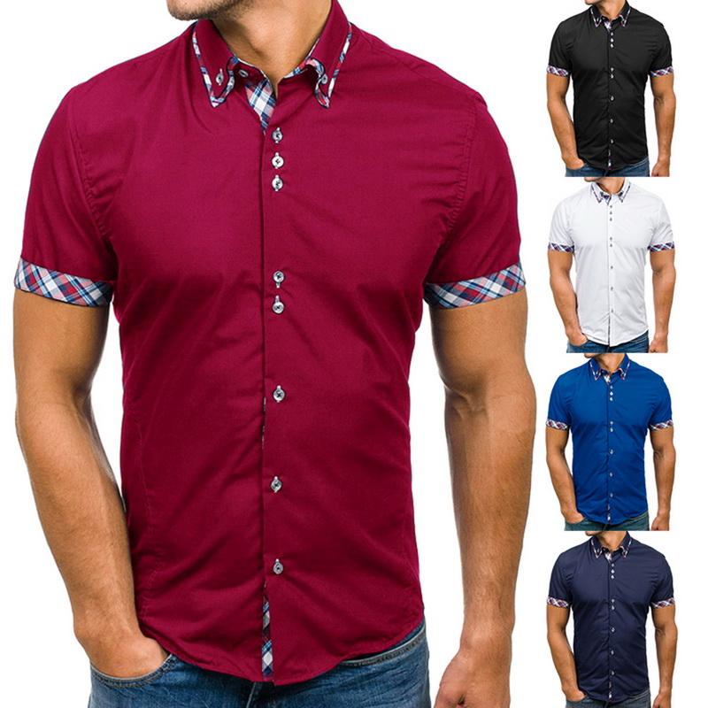 Summer Men Business Lapel Shirts Short Sleeve Lattice Plaid Casual T-Shirts Tops
