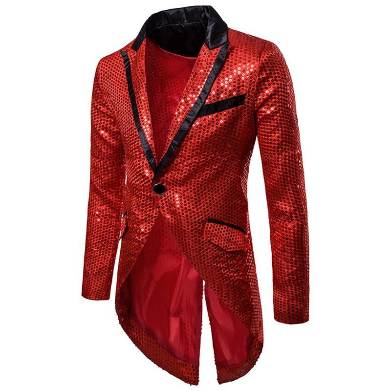Herren Pailletten Sakko Blazer Gold Jacke Anzug Kostüm Mantel Club Party Tänze
