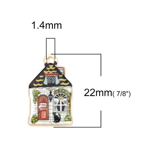 10 Stück Zinklegierung Charms Haus Vergoldet Kette Bunt Emaille 22mm x 13mm