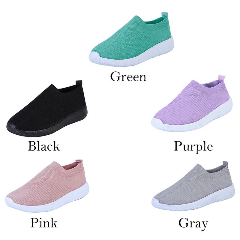 Damen Stricken Sport Schuhe Sneaker Turnschuhe Slip on