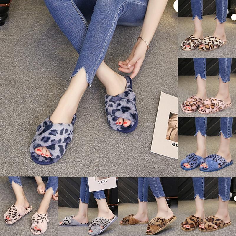 Details zu Damen Hausschuhe Plüsch Pantoffeln Latschen Indoor Slipper Leopard Flip Flops JO
