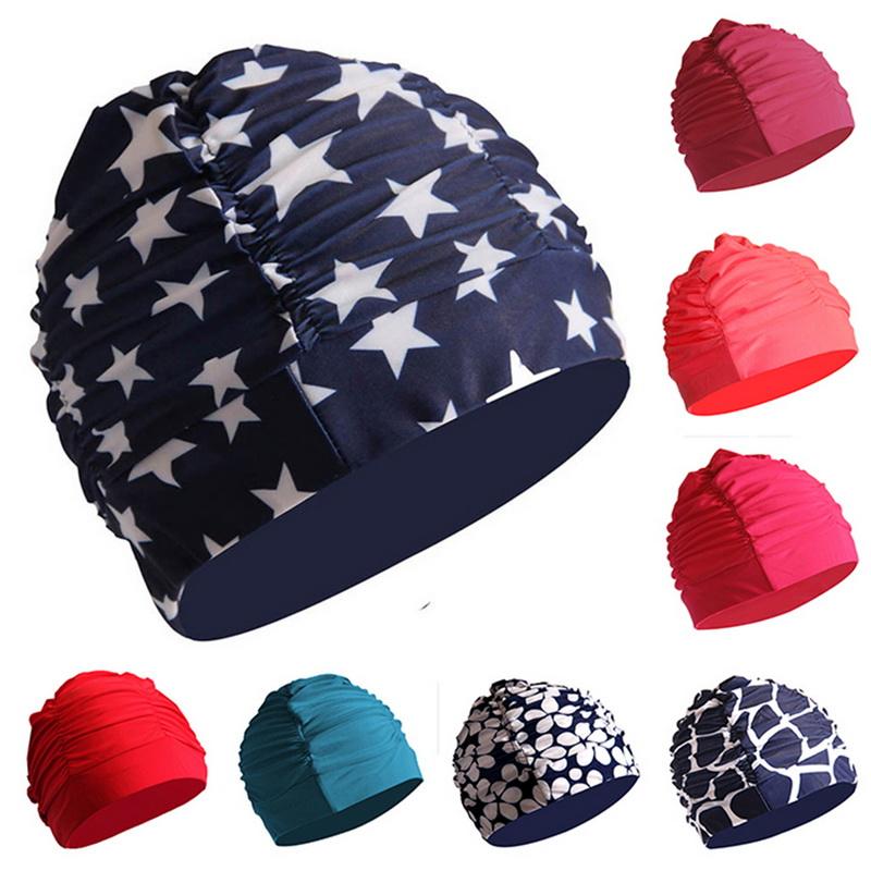 Unisex Men Women Swimming Cap Protection Elastic Nylon Sports Swim Hat Cap Cool