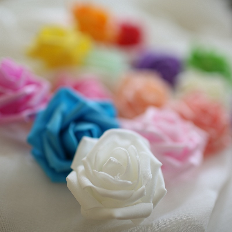 5X Pack PE Foam Gauze Rose Flower Head DIY Wedding Home Party Decor Mini US GW