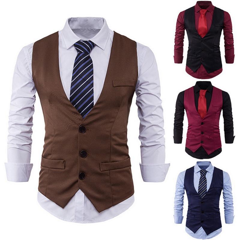 d2dc6eabf589 Fashion Mens Waistcoat Tops Suit Vest Tuxedo Wedding Formal Casual Coat Tops