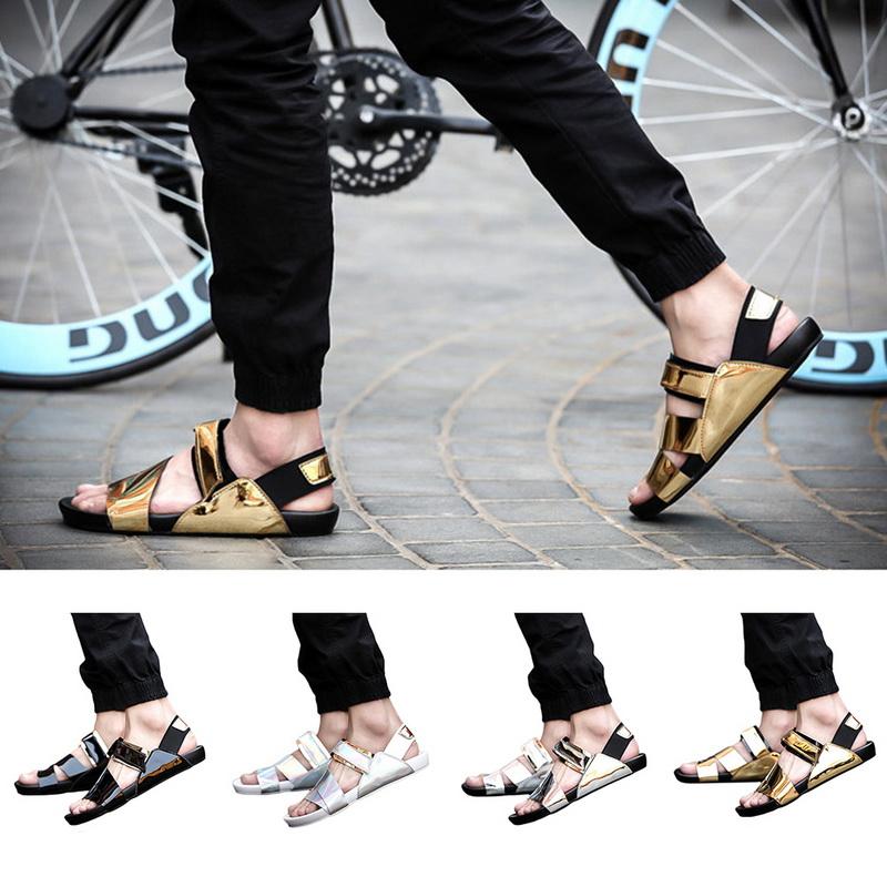 e3c7f7f72ac0 Mens Dermis Flat Sandals Open Toe Shoes Patent Leather Sandals Flip Flops  New