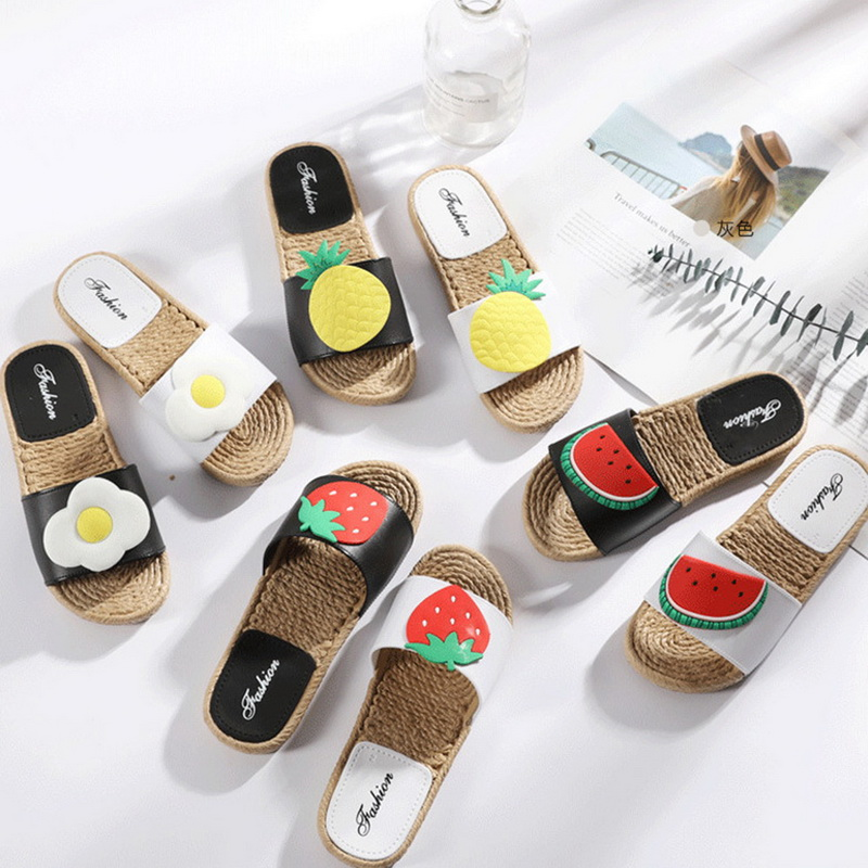 Summer Ladies Cute Soft Bottom Sandals Twine Braided PVC Fruit Slippers GIFT
