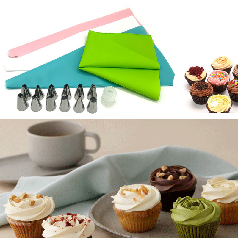 16 Pcs Silicone Icing Piping Cream Pastry Bag 14PCS Stainless Steel Nozzle