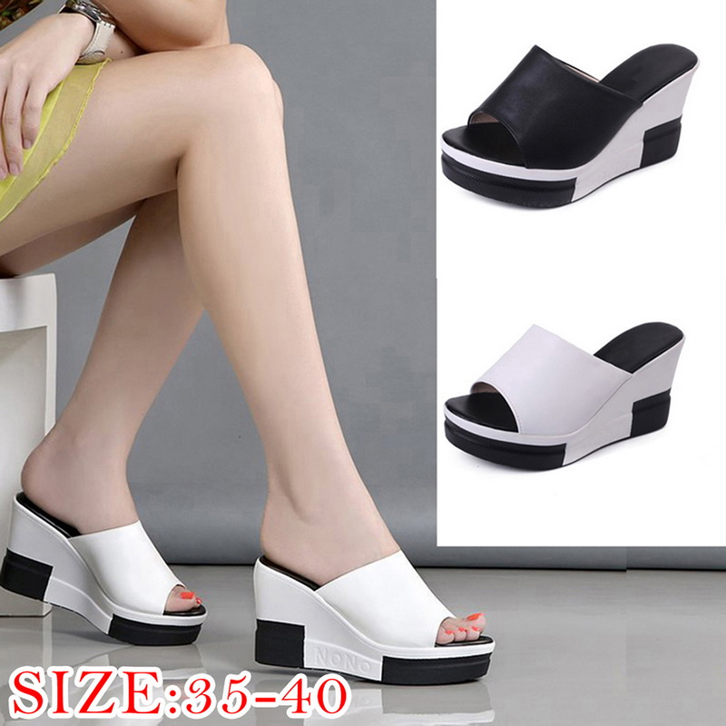 2473efd8fe6e Details about Women s Fashion High-Heeled Sandals Thick Bottom Platform  Sandals Wedge Slippers