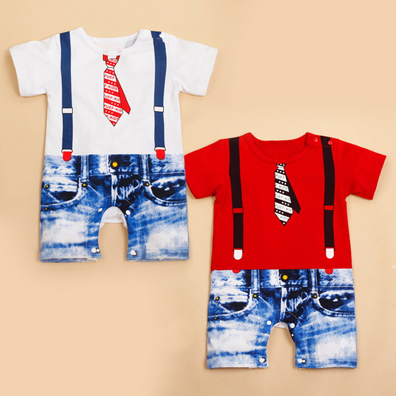 74a79b4fe Summer Baby Infant Fashion Romper Boys Girls Cowboy Printedsuit ...