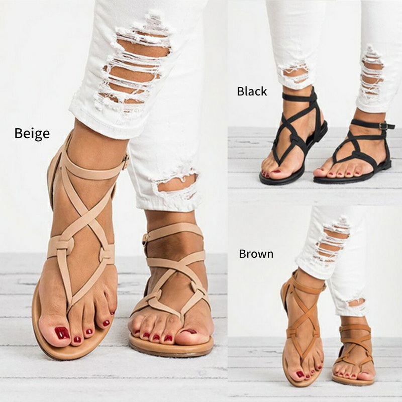 ea0fc5303 Summer Womens Cross Straps Sandals Beach Gladiator Thong Ankle Buckle Strap  Flat