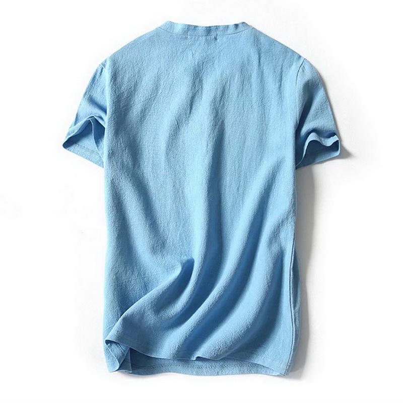 4b8167b6899 Été Hommes col V en coton lin T-shirt à manches courtes Casual Hauts Henley