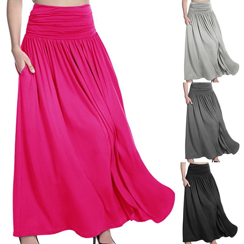 8da204619a0 Details about Women s High Waist Pleated A Line Long Skirt Front Slit  Belted Beach Maxi Dress