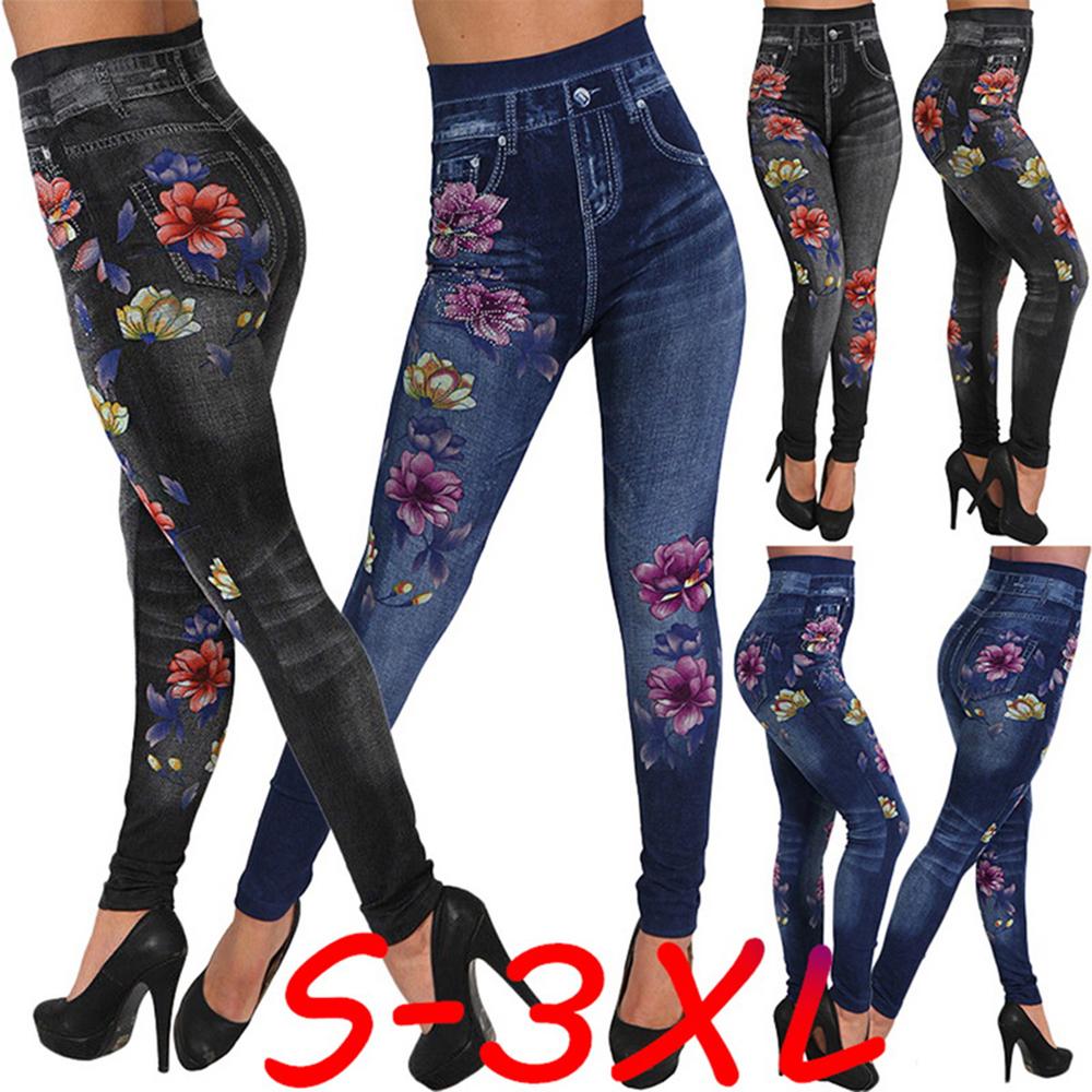 Leggins Hose hoher Bund Strass Steine Blumen Jeans Print