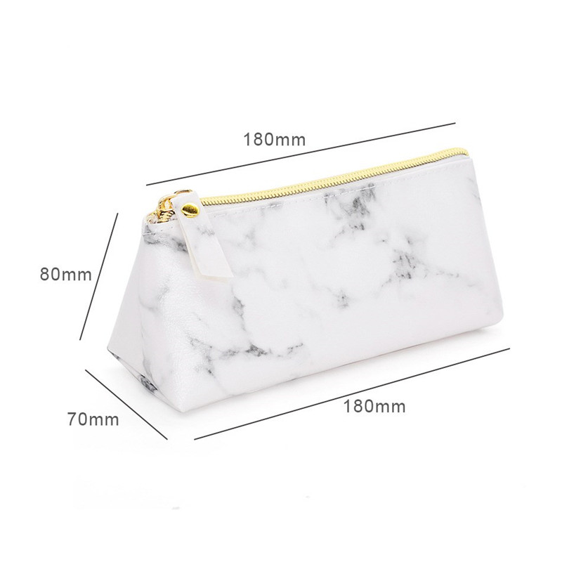 ed354659cb351f 3PCS White Marble Cosmetic Bag Set Women Casual Makeup Pouch Brushes Bag