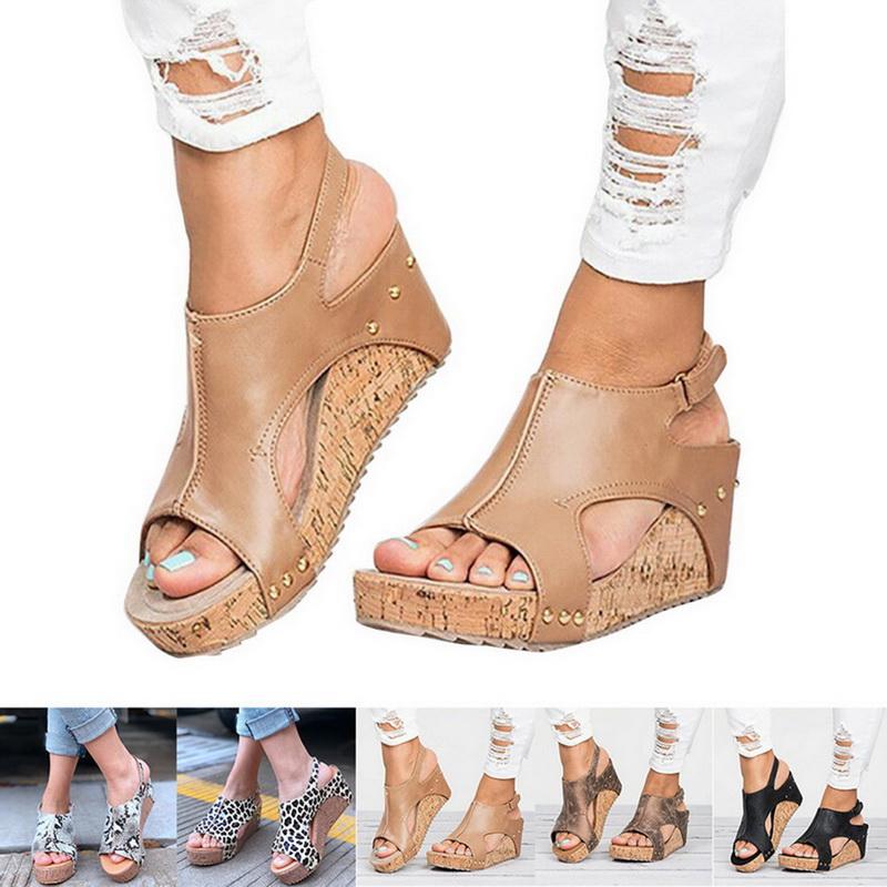 Détails sur Sandales Compensées Femme Chaussures À Talons Haut Plateforme Espadrilles Plage