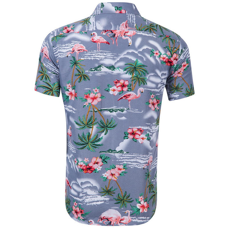 ec7f36b572f4 Mens Summer Short Sleeve Hawaiian Shirts Floral Print Casual Shirt Beach  Shirt