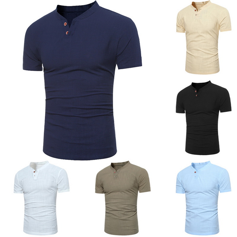 ee80ac9a Summer Mens Casual Classic Button Henley Shirt Short Sleeve V Neck Slim T- shirts