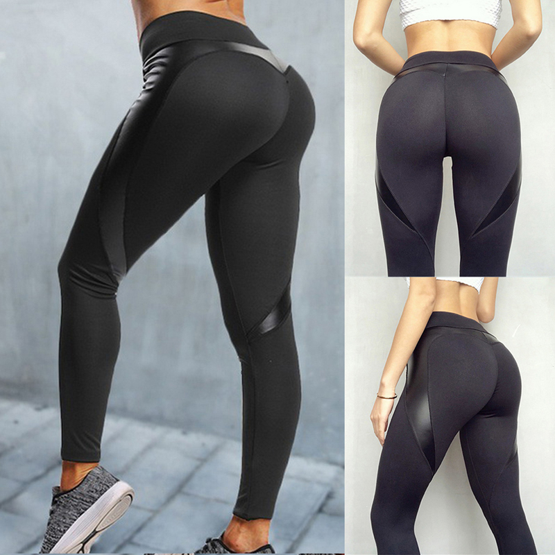 306de71602cd9b NEW Black Heart Shaped Booty Sport Pants Women Patchwork Skinny Push-Up  Leggings