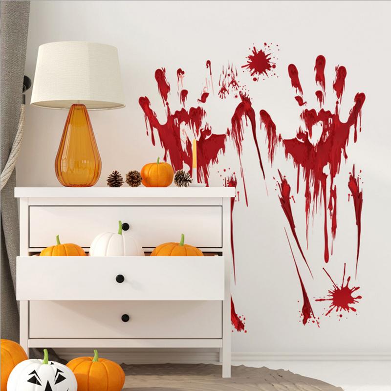 halloween wall paste door paste glass decor footprint blood hand