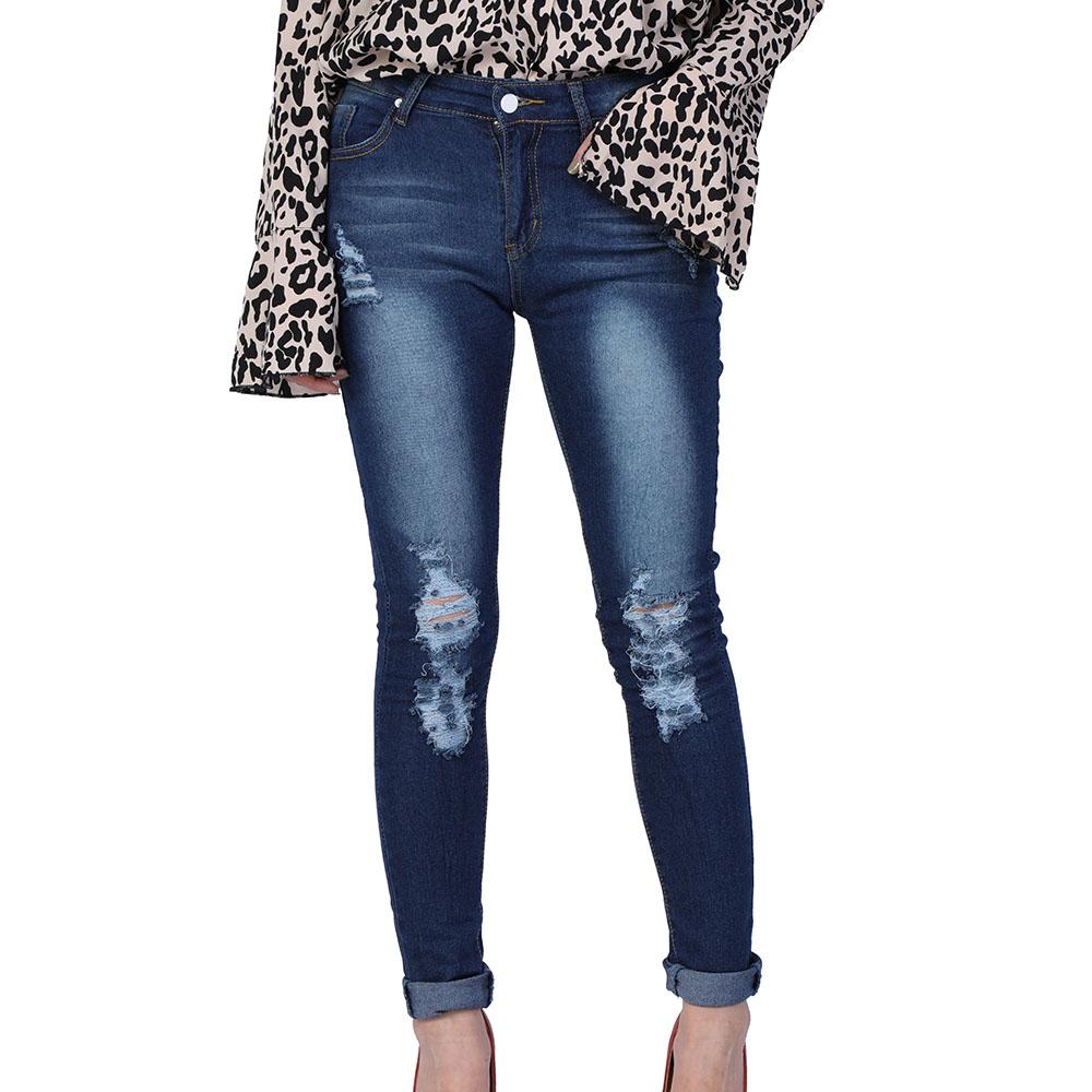 Details About Femme Sexy Destroy Holes Jeans Slim Pantalon En Denim Droite Pants Bleu Foncé Xq