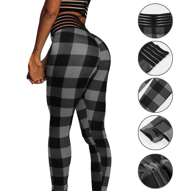 4c4a725830939 Details about NEW Fashion Women's Plaid Print Leggings Yoga Hips High Waist  Pants Sports Pants