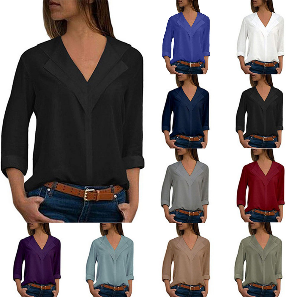 c1d7ee3f7b23 Details about Fashion Womens V-neck Long Sleeve Blouse Casual Loose Chiffon  Shirt Tops T-Shirt