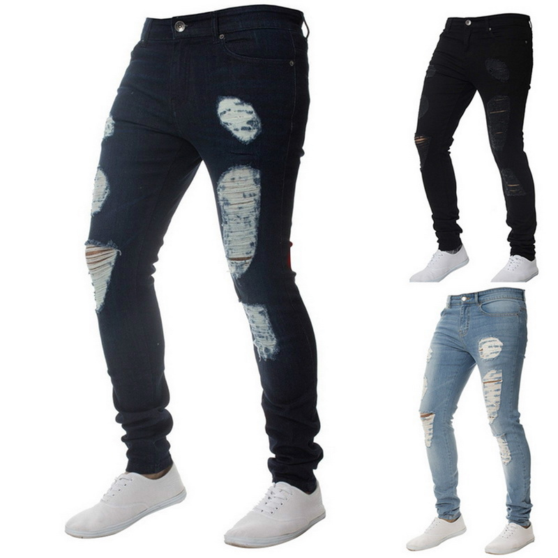 Mens Casual Skinny Jeans Pants Men Solid black ripped jeans men Ripped Beggar Jeans With Knee Hole For Youth Men