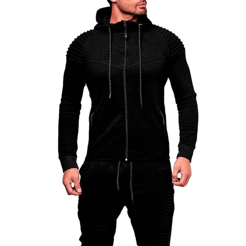 New Mens Long Sleeve Hooded Hoodie Tracksuit Tops Drawstring Pocket  Sweatshirt