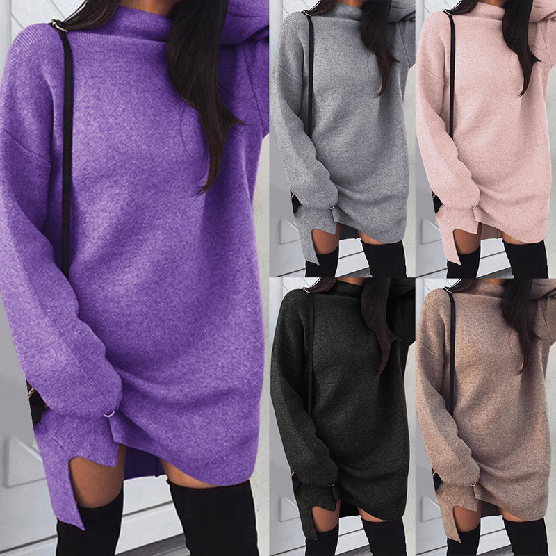 35091e7751e Women Long Sleeve Dresses Turtleneck Warm Knitted Sweater Dress Casual GIFT