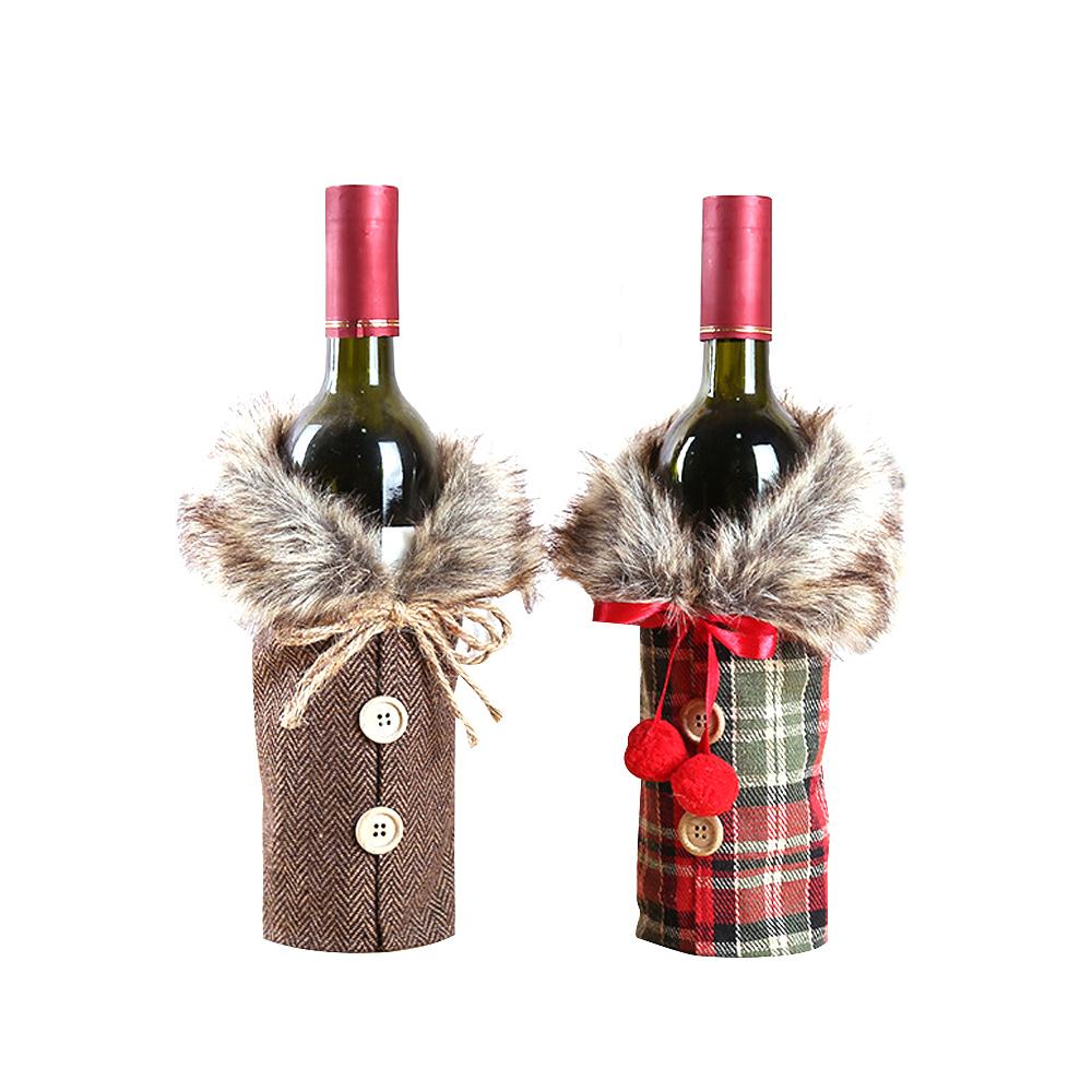 plaid v tements de no l bow bouteille de vin set. Black Bedroom Furniture Sets. Home Design Ideas