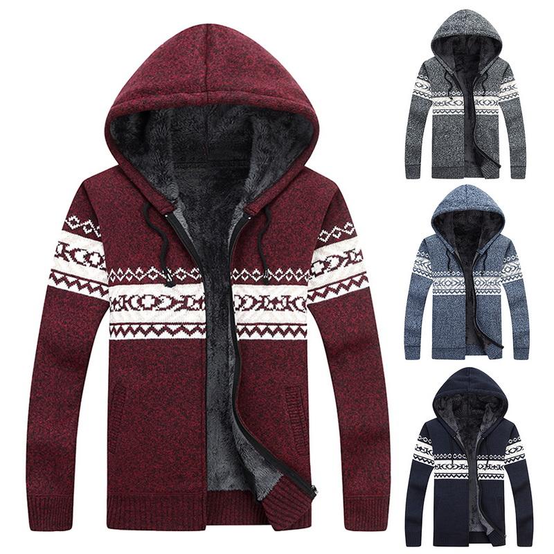Fashion Mens Knitting Hooded Hoodies Warm Thick Sweatshirt Casual Zipper Coats