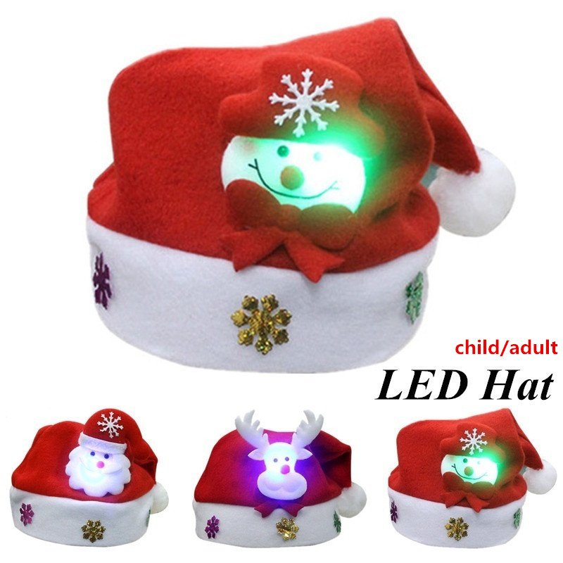 Christmas Hats For Kids.New Kids Adults Led Christmas Hat Santa Claus Reindeer