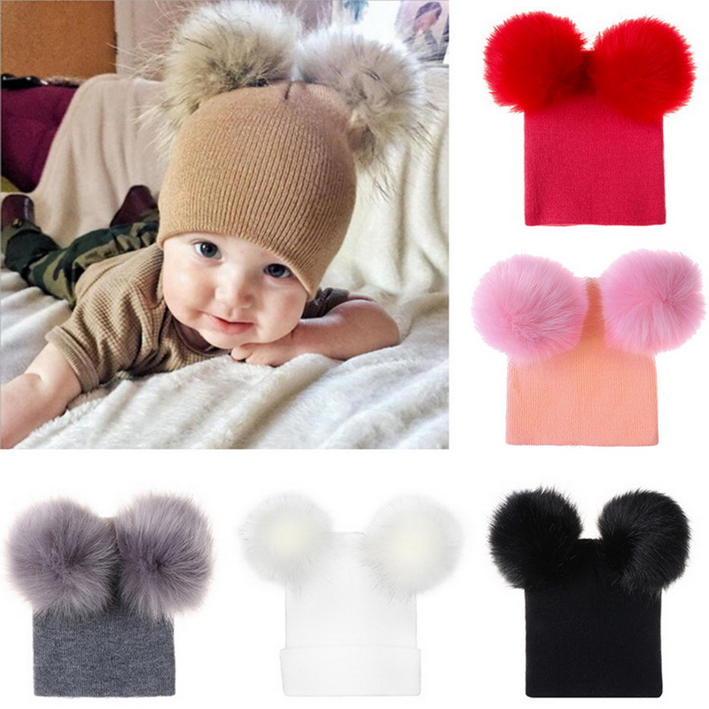 Child Kid Baby Boys Girls Beanie Hat Cap Warm Winter Double Fur Pom Bobble Knit
