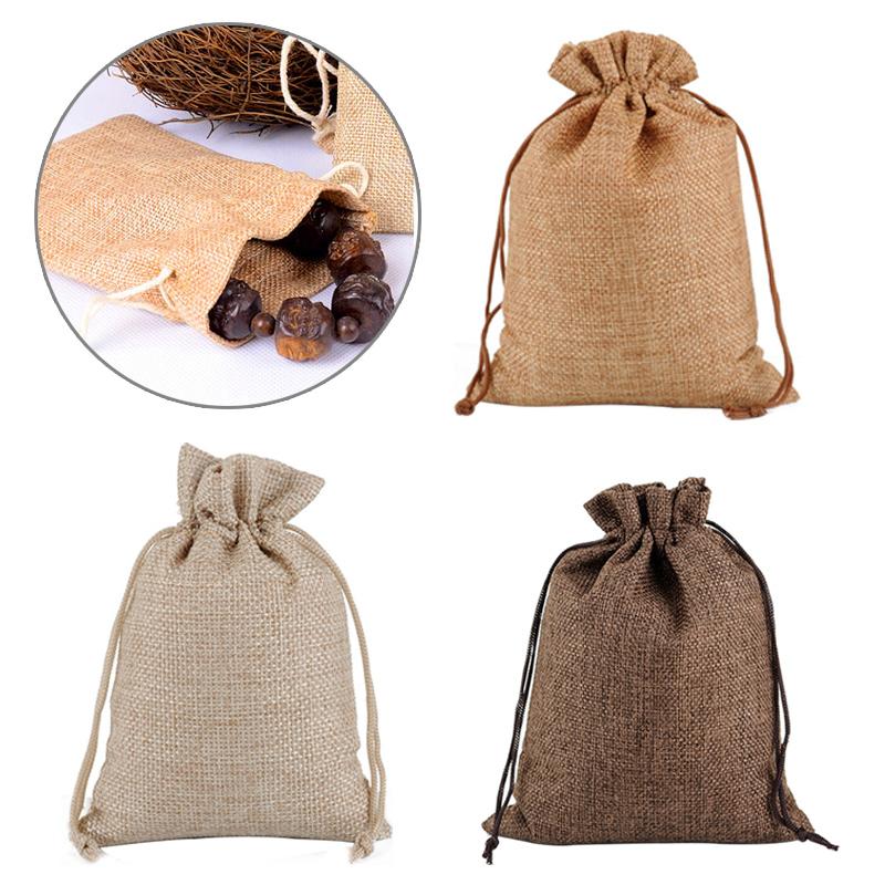 100//200pcs Natural Jute Hessian Drawstring Pouch Burlap Wedding Favor Gift Bags