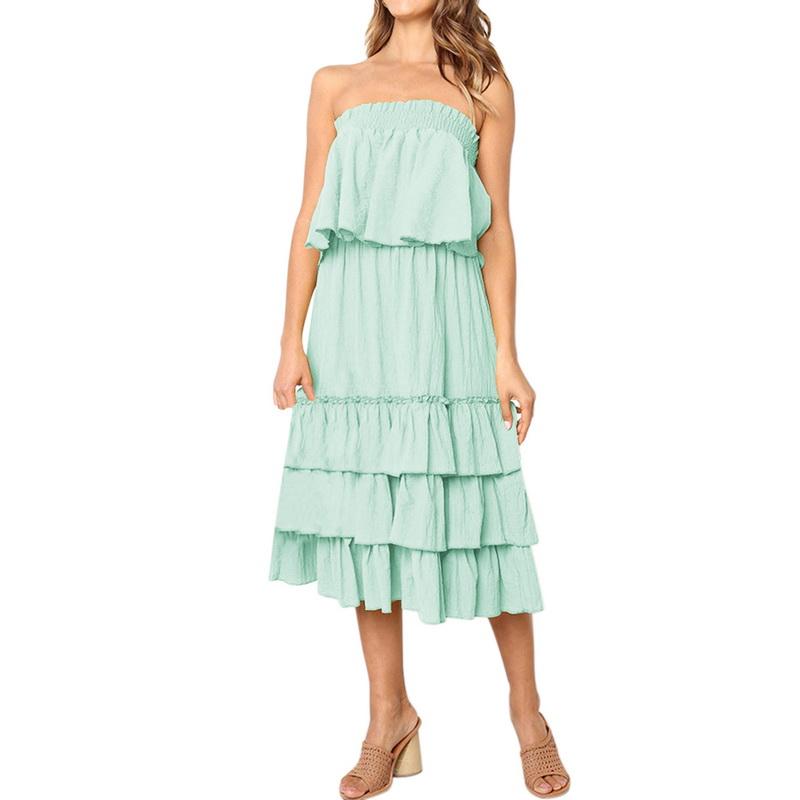 Women Summer Ruffle Strapless Tube Top + Dress Maxi Beach