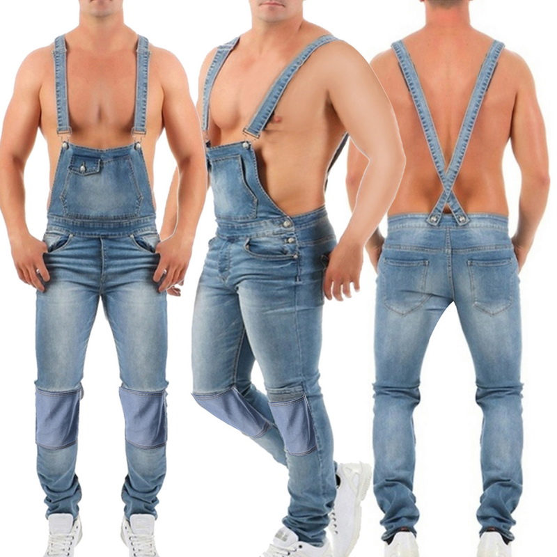 Men/'s Rompers Denim Carpenter Overalls Bib Jumpsuit Moto Ripped Jean Pants