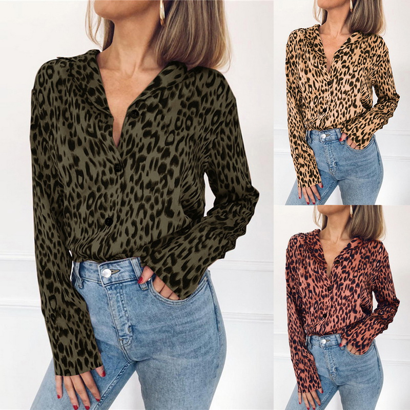 fb6f4c86b982 Details about UK Women Leopard Print Chiffon Blouse Shirt Long Sleeve  Ladies Tops S-3XL TRAN