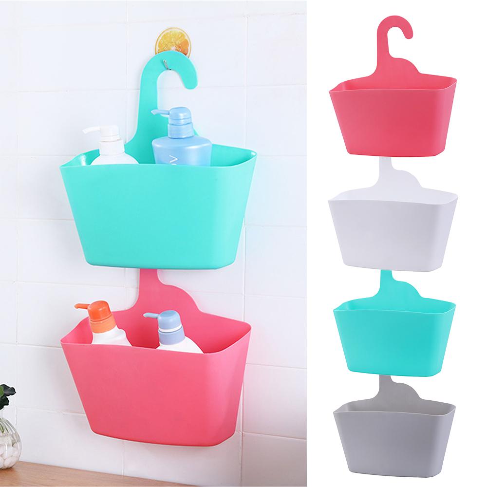 Plastic Multi-layer Hanging Shower Basket Bathroom Caddy Basket Organizer Rack B