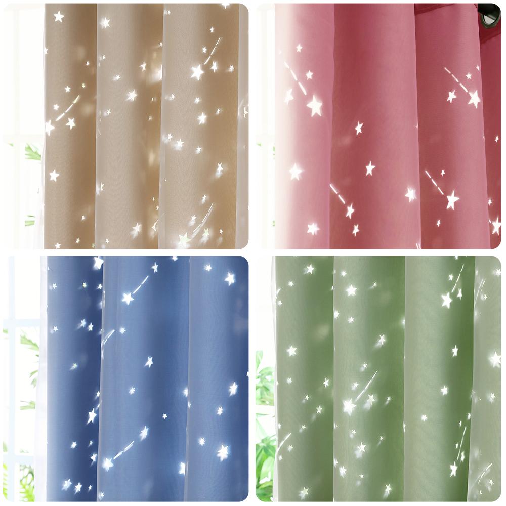 2X Moden Shading Blackout Curtain Shiny Star Window Drapes Kid Bedroom Curtain