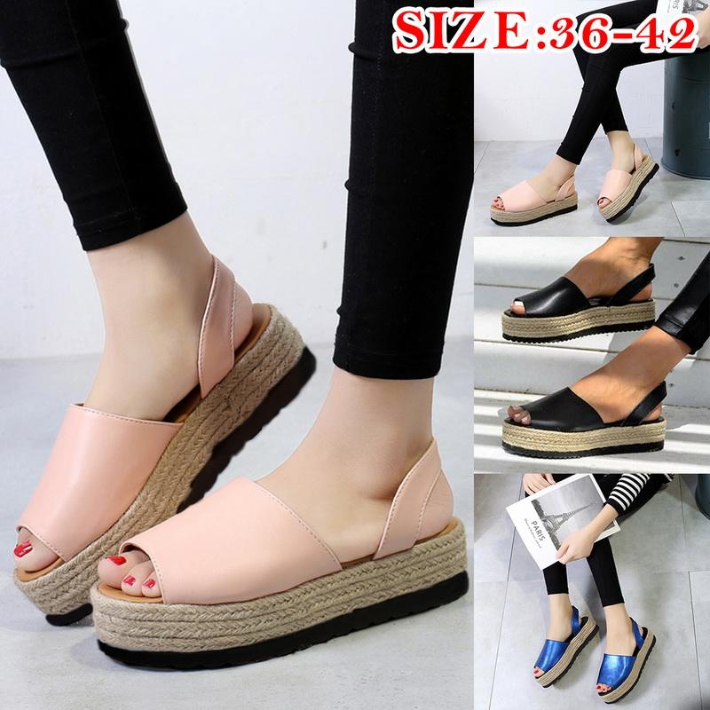 Détails sur Femmes Sandal Bout Ouverte Bouche de Poisson épais Bas Chaussures de Plage 25