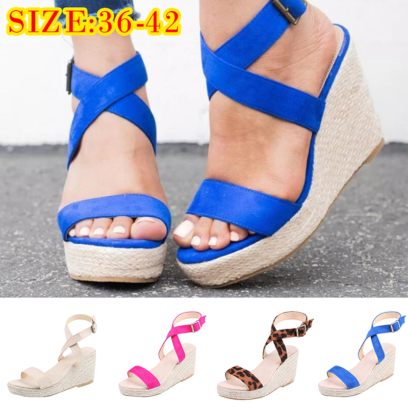 c437d5363bb Details about Women Ankle Strap Buckle Sandals Ladies Wedge Platform Heels  Summer Shoes Size