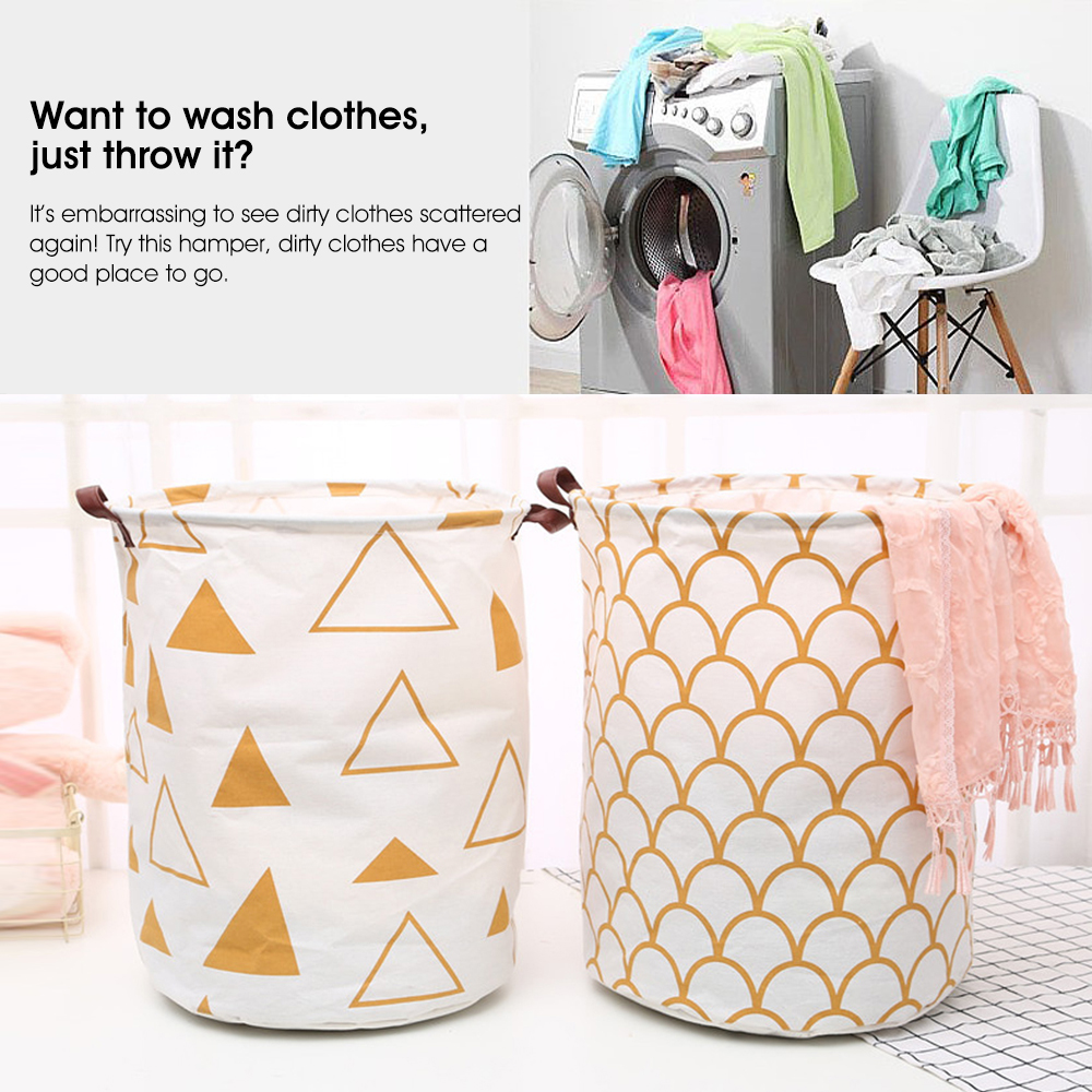 Details About Extra Large Laundry Basket Linen Dirty Cloth With Faxu Leather Handle Lo